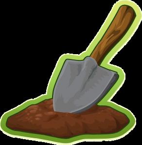 une pelle de dessin animé plantée dans la terre, une métaphore de comment creuser une fiche personnage