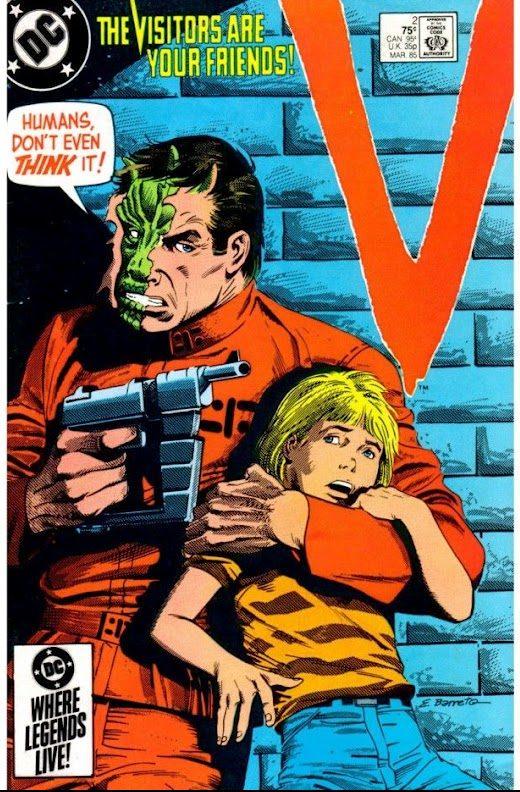 Un monstre mi-homme, mi-reptile prend une petite fille en otage sur un vieux comics de la série de SF V. En fait, c'est Vé, le cerveau reptilien, qui prend Alice, notre cerveau imaginatif, en otage.d une petite en otage