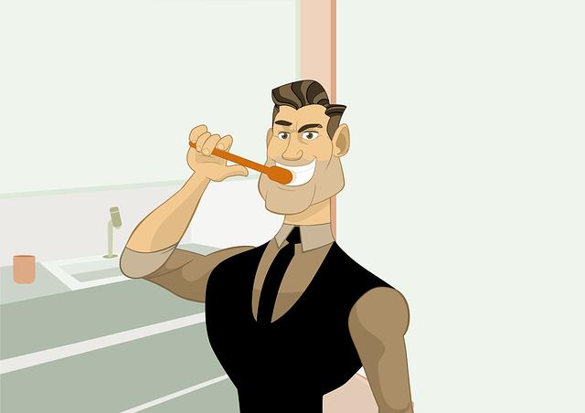 un gars vachement fier se lave les dents