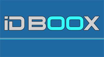 logo de IDBOOX couleur bleu marine et argent avec une écriture ordinateur