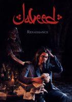 javeed titre d'une BD en écriture d'influence arabe. On voit un alchimiste qui s'escrime sur des manuscrits avec une femme cachée dans l'ombre