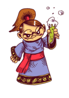 une alchimiste à lunettes a l'air toute vénère en regardant dans son tube à essai. C'est moi devant une structure comme le voyage du héros