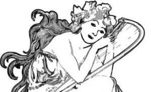 une déesse antique se repose sur sa harpe