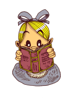la petite alice lit un livre