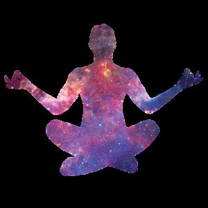 un yogi de lumière cosmique se concentre assis ne tailleurs pour s'immerger dansl'écriture de sa nouvelle