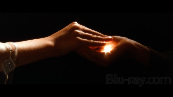 une main de petite fille transmet une graine de lumière à un petit garçon: c'est le germe de la créativité