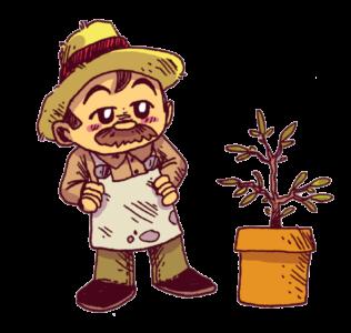 un jardinier regarde une plante en pot qui pousse! C'est l'ennemi naturel des méthodes d'écriture comme le voyage du héros